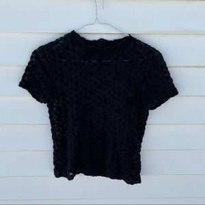 Zara Lace Dotted Black Short Sleeve Top Blouse M
